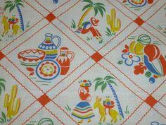 Vtg Cotton FEEDSACK FABRIC Novelty ORANGE MEXICAN Southwest Pottery Sombrero