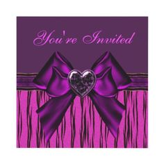 Stylish and elegant pink, purple & black animal print birthday party invites with purple heart digital bling jewel and bow. Decorated both sides. $1.95. Good volume discounts. Easy to personalize. #teens #girls #funky #trendy
