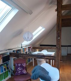 BILLY bookcases fit perfectly under sloped ceilings   Alcove   Exposed wood beams   Antje's living room in Germany   live from IKEA FAMILY