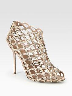 Sergio Rossi Suede & Swarovski Crystal Mermaid Ankle Boots