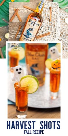 These festive fall shots are perfect for the chilly autumn months. Fill pitcher with ice and combine ingredients. Pour over shot glasses. Garnish with a lime or orange wheel, and get ready to have a spooky time! #bluechairbay #spicedrum #BCBHappyHour Barbary Coast, Orange Wheels, Spiced Rum, Amber Color, Shot Glasses, Fall Recipes, Harvest, Spices, Shots