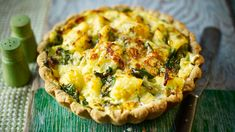 Deep-filled homity pie ~ Rich wholemeal pastry packed with a potato, onion and cheese filling. We've added spinach and a hint of nutmeg for a Biker twist. Pie Recipes, Veggie Recipes, Vegetarian Recipes, Cooking Recipes, Savoury Recipes, Veggie Food, Veggie Dishes, Yummy Recipes, Dinner Recipes