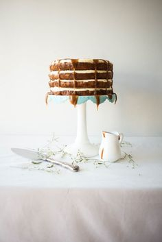 Banana and Honey Layer Cake with Salted Rum Caramel