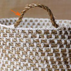 Crochet hemp basket with manila rope and yarn FREE pattern (hva)