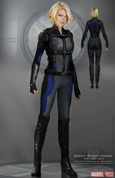 Adrianne Palicki in her Mockingbird suit from Agents of Shield