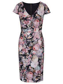 Růžovo-černé pouzdrové květované šaty Dorothy Perkins-649