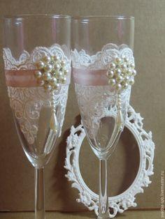 Купить Свадебные бокалы - бледно-розовый, айвори, свадебные аксессуары, свадебные бокалы, бокалы для свадьбы