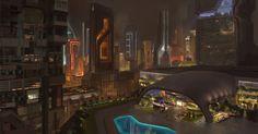scifi city, Timothy Rodriguez on ArtStation at https://www.artstation.com/artwork/NawND
