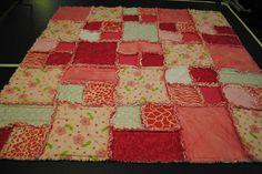 block style = Baby Girl RAG Quilt Blanket Handmade