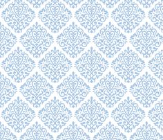 For bottom trim of white curtains: lavendar on white fabric by mariafaithgarcia on Spoonflower - custom fabric Love Blue, Blue And White, White Curtains, Fabric Wallpaper, Cool Fabric, White Fabrics, Custom Fabric, Damask, Spoonflower