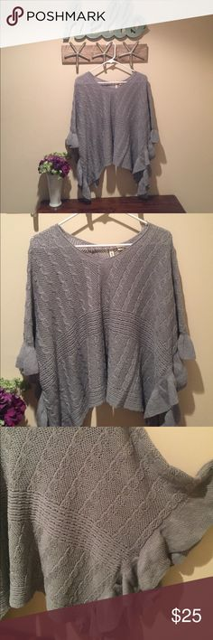 Anthropologie gray knit poncho sweater Adorable and super comfortable Moth gray cable knit poncho sweater with arched bottom. Only worn twice, in perfect condition. Anthropologie Sweaters Shrugs & Ponchos