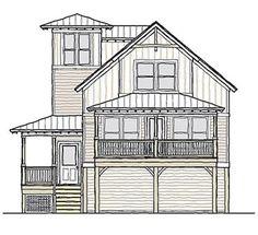 Coastal Home Plans - Lighthouse Cottage II.  1424 sf 3 bed 2 bathroom with carport underneath.  Nice beach house plan.