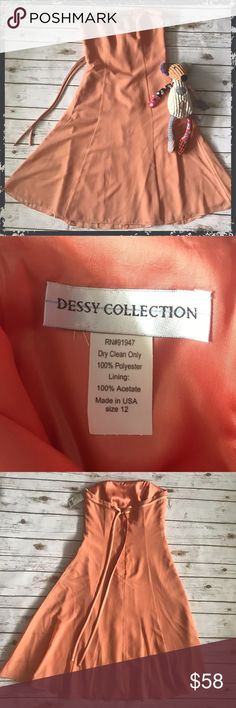"NWT Dessy Collection Tangerine Strapless Dress Size 12 (fits smaller, see measurements) 100% polyester, no stretch Measurements: chest 16"", waist 15"", length 39"" **Please see first 2 comments** Dessy Collection Dresses"