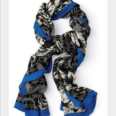 """Stella & Dot Union Square Scarf - Midnight Bloom Gorgeous Stella & Dot Union Square scarf in a black and white pattern with cobalt blue trim. Can be worn as a scarf or a wrap! Dimensions: 40""""x 80"""". 100% Rayon. Medium weight. Stella & Dot Accessories Scarves & Wraps"""