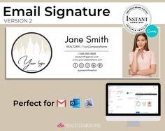 Email Signature V2, Editable in Canva, Custom Gmail Signature, Real Estate Marketing, Real Estate Template #Realtor #EmailSignature #Template #AppleMailSignature #GmailSignature #CustomSignature #EditableInCanva #EmailTemplate #RealEstate #OutlookSignature E Mail Template, Email Signature Templates, Real Estate Templates, Email Signatures, Marketing Materials, Ms Gs, Real Estate Marketing, Printing Services, Design Elements