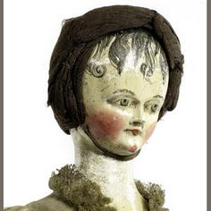 Important portrait-type carved wooden doll, German circa 1820