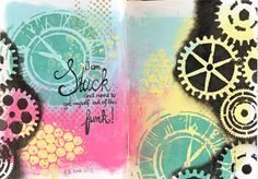 I am stuck - Art journal mixed media on 300gsm hot pressed paper by eNKay