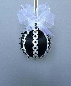 Black & White Collection/Black Christmas Ornament With White Sequin Accents/Handmade