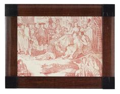 Copper-Plated Red Toile Fabric depicting William Penn's treaty with the Native Americans, late 18th C, French school