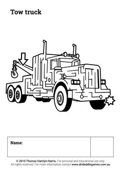 www.skidaddlegames.com.au Truck Names, Printable Mazes, Tow Truck, Activities, Education, Fictional Characters, Onderwijs, Fantasy Characters, Learning