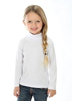 """Little Girls solid Color Turtleneck Cotton Size 5 White. The """"turtleneck"""" top is made with stretch fit material with long sleeves making it perfect to wear for the colder seasons. Available in different sizes and designs. Girls Poncho, Shoulder Sling, Little Girls, Tie Dye, Hoodies, Turtleneck Top, Tees, Long Sleeve, 5 Years"""