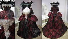 This gown is a re-creation of the character Regina Mills' gown from television's <i>Once Upon a Time</i> and explodes with feathers and lace. There's even a custom-built petticoat underneath to give the gown its full shape.