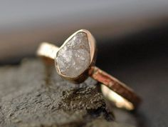 Rough Large Diamond Ring in Recycled 14k by Specimental