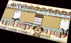 "12x12 Scrapbook Page Dog or Puppy Themed Kit . DIY Kit or Pre-Made Double Page Layout. Echo Park ""Woof"""
