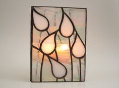 Candle Holder Stained Glass White Wedding by FleetingStillness