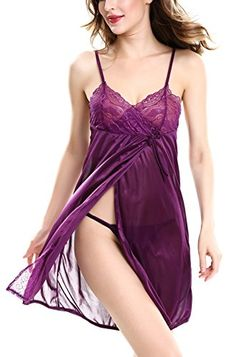 248322468e0 YISABELL Women Nightgown Satin Silk Lace Chemise Lingerie Sexy Babydoll >>>  Want to know