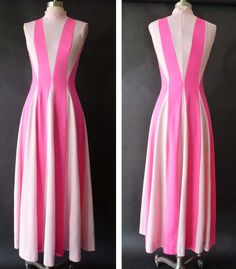 60s 70s Dress Vintage NEON MAXI Two Tone by GarishVibeVintage