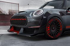 Mini John Cooper Works GP Concept (2017) was presented at Frankfurt Motor show(IAA). Exterior Design by Moritz Anton  I modeled the front grill and meshes using Rhino Grasshopper.  With Grasshopper, we could try different number of rows and columns as well as different angles to find the most optimal shape.   #design #car #mini Mini Cooper Tuning, Mini Cooper Sport, Red Mini Cooper, Mini Coopers, Mini Cooper Models, Honda Crv, Monte Carlo, Frankfurt, Maserati
