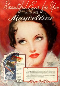 Maybelline Model Rochelle Hudson, actress who's star faded to soon 1930s Makeup, Vintage Makeup Ads, Retro Makeup, Vintage Ads, Vintage Vanity, Vintage Trends, Vintage Cameras, Vintage Stuff, Vintage Colors