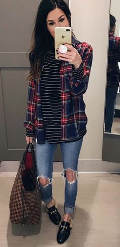 #winter #outfits red and blue plaid flannel