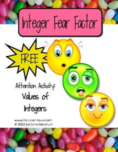 Jelly beans and spring seem to go together, but how about with integers?  Come check out this fun free introductory lesson to learning the values of integers.  Integer Fear Factor is super fun!