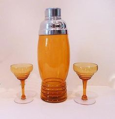 1930s Imperial Amber Glass Cocktail Shaker Set