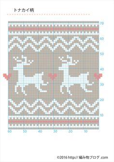 【8月は毎日1オリジナル無料図案!】トナカイ柄【クロスステッチ・セータの編込み柄に】 – 編み物ブログ.com Kids Rugs, Charts, Christmas, Decor, Miniatures, Dots, Decorating, Graphics, Navidad