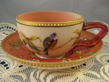 Antique Moser ~ Pink Bird & Florals Cup & Saucer ~ Hand Painted Jeweled Enamel from Mercury Antiques on Ruby Lane