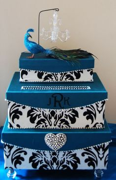 damask wedding card box