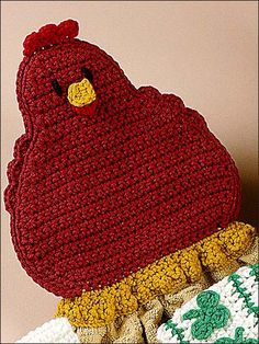 "Chicken Towel Topper - Your country kitchen will be complete when you add this Chicken Towel Topper stitched using worsted-weight yarn and a coordinating kitchen towel. Finished size of chicken is 6"" x 6 1/4"".  Skill Level: Easy  Designed by Michele Wilcox  free pdf from freepatterns.com"