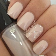 Gorgeous Quilted Nail Art in Miss Porcelaine pearlized pastel nude polish by Lancome