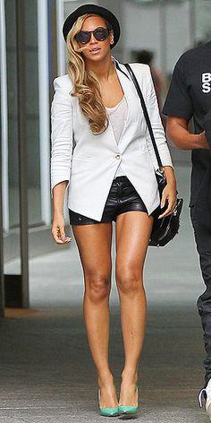 BEYONCÉ | White Blazer + White Tank + Teal Heels + Leather Shorts