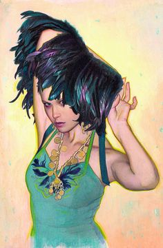 """""""Feathers II"""" - Rodrigo Enrique Luff, pencil, ink, pastel, acrylic, colored pencil and iridescent media on watercolor paper {contemporary fantasy art female torso woman cropped painting #loveart} rodluff.deviantart.com"""