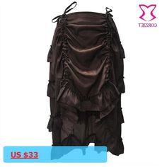 3bc7e11bfa Victorian Brown Ruffle Chiffon Front Pleated Up Steampunk Skirt 2017 Summer  Skirts Womens For Matching Corset
