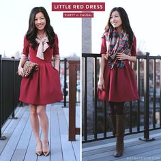 ExtraPetite.com - Casual holiday: Red party dress 2 ways