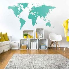 Vinyl world map for the wall