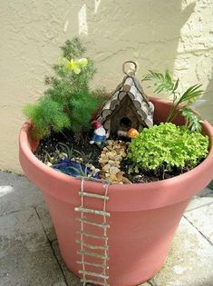 Popular items for fairy furniture Fairy Pots, Mini Fairy Garden, Fairy Garden Houses, Gnome Garden, Container Fairy Garden, Fairy Gardening, Container Gardening, Indoor Fairy Gardens, Miniature Fairy Gardens