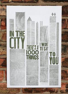 In The City letterpress poster via starshaped press on Etsy
