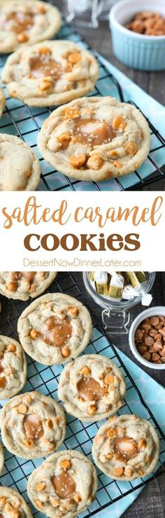 Salted Caramel Cookies are soft, chewy, and full of caramel, with just the right amount of salt. This sweet and salty dessert is one recipe you'll make again and again! Salted Caramel Cookies, Caramel Recipes, Brownie Recipes, Sweet Tarts, Dessert For Dinner, Sweet And Salty, Yummy Cookies, Cookies Et Biscuits, Chip Cookies
