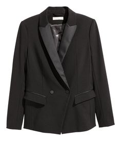 Check this out! Fitted, double-breasted tuxedo jacket in woven stretch fabric with glossy lapels. Covered buttons, welt pockets with flap, buttons at cuffs, and vent at back. Lined. - Visit hm.com to see more.
